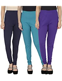 Anekaant Cotton Lycra Women's Legging Pack of 3