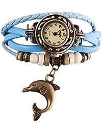 Vovotrade Cuarzo tejido alrededor de cuero delfín brazalete brazalete reloj para señora mujer (cielo azul)