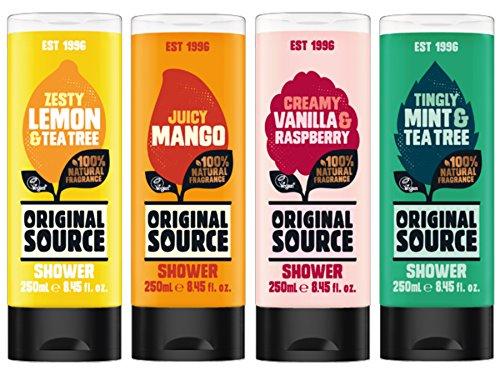 Original Source Gels Douches Set 4 x 250 ml Exotique Parfum mangue, citron & Tea Tree, vanille & Fraise, menthe & Tea Tree