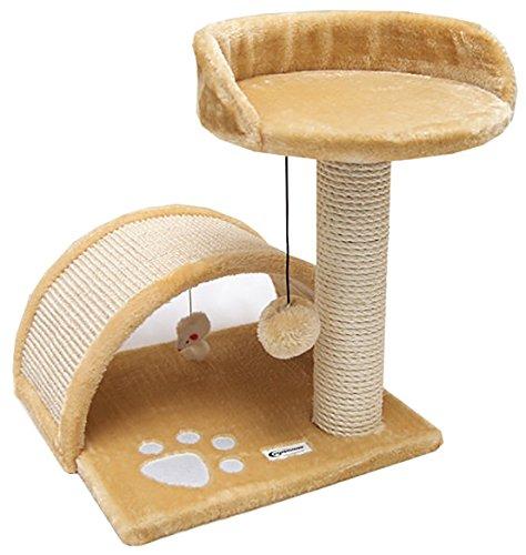 Eyepower Katzenkratzbaum Cindy Beige 44cm Natursisal Plüsch Katzen Kratzbrett Tier-Spielzeug -