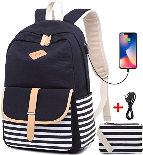 Netchain Sac à dos toile Femmes Canvas Backpack Collège Cartable pour fille Sac à dos loisir Sac à dos pour ordinateur portable pour 15.6'', USB Charging Port