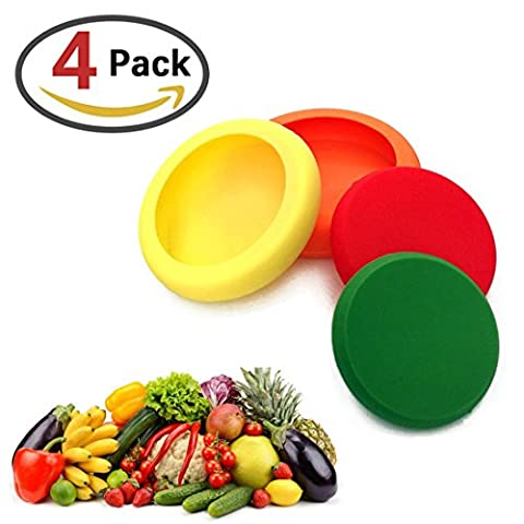 BeYself Food Huggers Ensemble de 4 - Réutilisable Silicone Food Saver Fruits et légumes Jars Bouteilles Tins Cans Savers Storage Cover Holder Keep Fresh