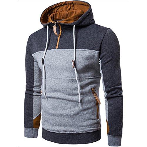 JYJM Herrenmode Jacke Nähte Farbe langärmelige Jacke Herren Pullover Jacke Kragen Kragen Pullover Mantel Outdoor Freizeit Jacke Herbst und...