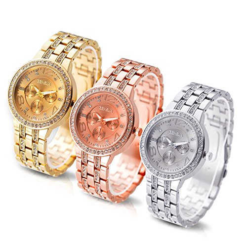 DSstyles Frauen Uhr Satz 3 Pcs analoge Quarz Dame Armbanduhr Legierungs Uhr Satz