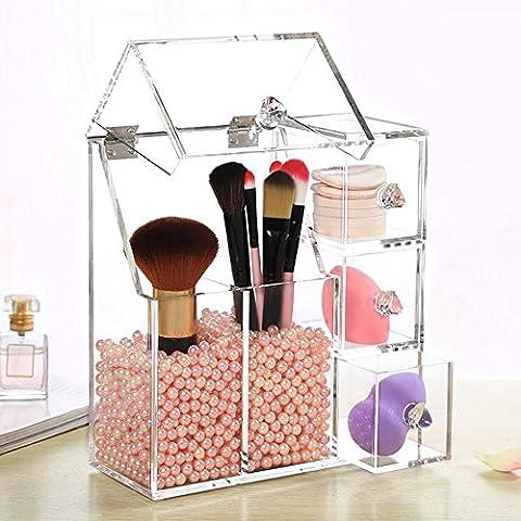Makeup Organiser,HOYOFO Brush Holder Lipstick Pen Case Puff Drawer Dustproof Box Premium Quality Makeup Acrylic Organizer Cosmetic Storage Display Lid,with Free Pink Pearl