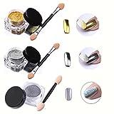 3Pcs/Set Nail Glitter : VALUE MAKERS 3 Box Nail Powder-1g Holographic Nail Powder+2-3g Gold & Silver Mirror Chrome Nail Powder-Shinning Nails Dust Pow