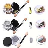 Demarkt 3pcs / 2gcaja del brillo del clavo del polvo de uñas brillante del espejo del maquillaje del polvo del arte DIY Chrome Pigmento
