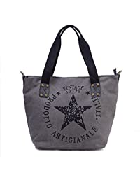 59d2963c2591c Star Shopper Bag Vintage Stern Damen Stamp Tasche Fashion Henkeltasche  Canvas Stoff