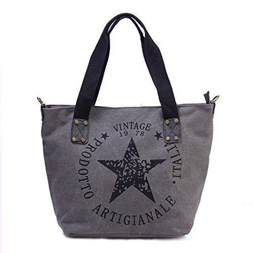 Star Shopper Bag Vintage Stern Damen Stamp Tasche Fashion Henkeltasche Canvas Stoff (Grau) - Star Canvas-tasche