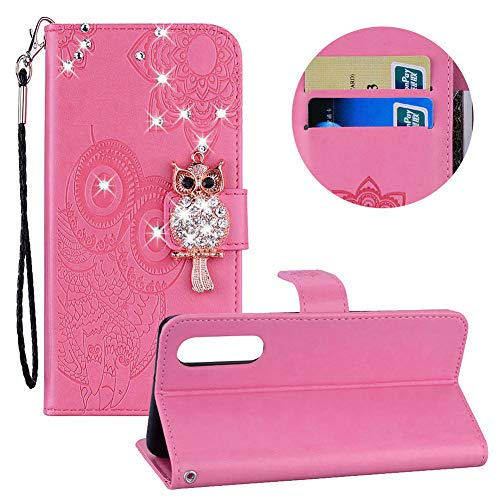 Diamant Brieftasche Hülle für Huawei P30,Gürtel Flip Hülle für Huawei P30,Moiky Stilvoll Süß 3D Rosa Eule Prägung Malerei Geprägt Stoßdämpfend Kratzfest Stand Handyhülle