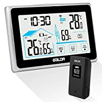 Qomolo Weather Station, Indoor Digital Hygrometer Thermometer with Outdoor Temperature Humidity Sensor, Wireless Weather Monitoring LCD Touchscreen Clocks with Backlight Display