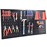 COSTWAY Werkzeugwand mit 17tlg. Werkzeughalter-Set, Werkzeughaltersortiment 3 Lochplatten, Werkstattwand Metall, Lochwand 120x60cm erweiterbar