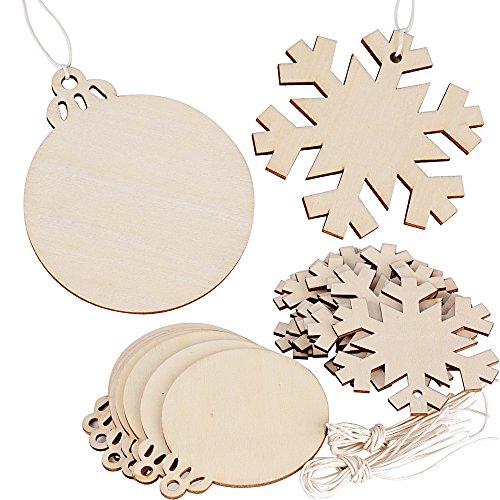 20 pz pendenti decorativi legno abbellimenti ornamenti da appendere decorazioni natale albero fai da te matrimonio nozze fiocco di neve palle natalizie (con 20 pz cordini)