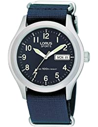 Lorus Men's Stainless Steel Case Canvas Strap Watch - RXN65AX9