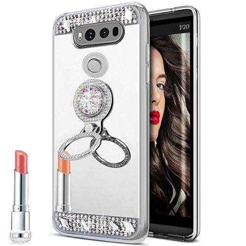 te Make-up für Teen Mädchen Lady Spiegel Slim TPU Bumper Dämpfung Kratzfest Hell Reflection Spiegel für Apple iPod Touch 6, Gemstone Silver ()