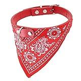 DealMux Faux cinturino in pelle di cane domestico del gatto Sciarpa Triangolare Decor collare, Rosso