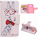 LEMORRY Samsung Galaxy A3 (2016), A310 Etui Housse, Girafe Soft TPU Coque + PU Cuir Rabat Portefeuille Magnétique Sangle Bumper Skin Protection