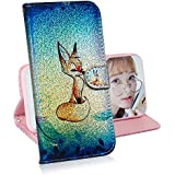 Creative Wallet Case for iPhone XS Max,Miagon Change Color Colorful Painted Design PU Glitter Leather Flip Cover with Card Holder Stand Case,Fox