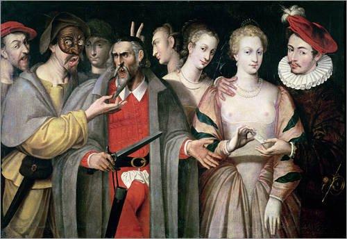 Kostüme Dell Arte Commedia (Leinwandbild 40 x 30 cm: Schauspieler der 'Commedia dell'Arte' von Francois Bunel / Bridgeman Images - fertiges Wandbild, Bild auf Keilrahmen, Fertigbild auf echter Leinwand,)