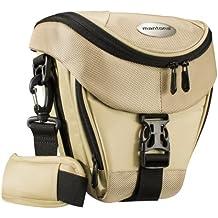 Mantona Premium - Funda para cámara reflex (correa para hombro, cierre de cremallera y clip), color beige