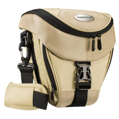 Mantona Colt Kameratasche (Universaltasche inkl. Schnellzugriff, Staubschutz, Tragegurt und Zubehörfach, geeignet für DSLR- und Systemkameras) sand