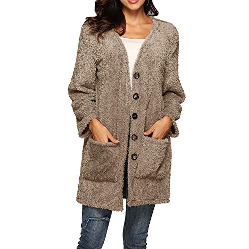 Wollmantel Frauen MYMYG Damen Winterjacke Tasche Qualität Woolen Wollmantel Kleidung Coat Einfabige Mantel Elegante Frauen Warme Faux Pelzmantel Jacke ()