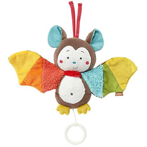 Fehn 067613 Spieluhr Fledermaus – Aufzieh-Spieluhr mit herausnehmbarem Spielwerk zum Aufhängen, Rascheln und Greifen, für Babys und Kleinkinder ab 0+ Monaten