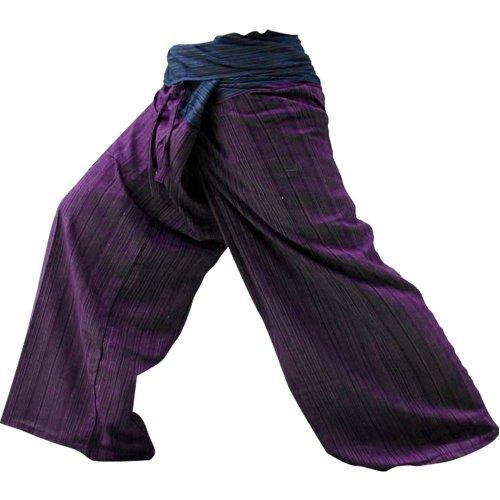 2 TONE Thai Fisherman Pants Yoga Trousers FREE SIZE Plus Size Cotton Drill Striped