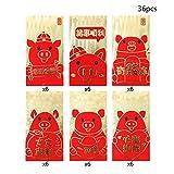 Chinesische rote Briefumschläge mit Glücksschwein-Muster, HongBao chinesisches Element festliche rote Briefumschläge Geschenkkarte rote Geldtaschen für 2019 chinesisches Neujahr, 36 Stück, 6 Designs