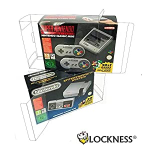 2x Schutzhülle für SNES MINI und NES MINI Classic Nintendo Originalverpackung Box PET Protector 0,5 mm STÄRKE Passgenau & Glasklar