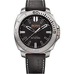 Boss Orange men's Quartz Watch Analogue Display and Leather Strap 1513295