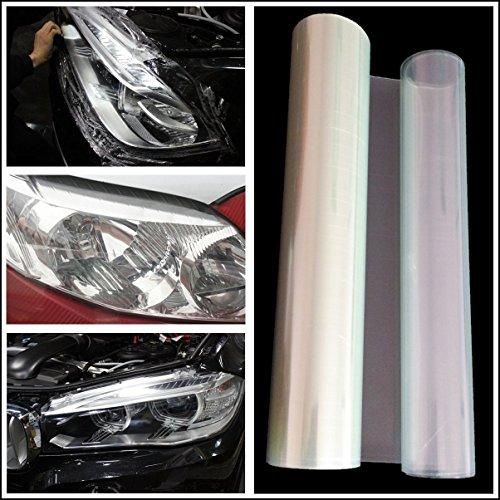 QEUhang 2 PCS Scheinwerfer Folie Tönungsfolie Aufkleber 120cm x 30cm für Auto Scheinwerfer Rückleuchten Blinker Nebelscheinwerfer (Transparent)