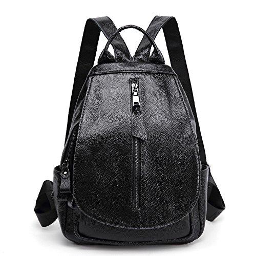Sprnb primo strato in pelle di vacchetta borsa a tracolla alla moda in pelle Borsa da viaggio, Studentessa Bag,Nero Black