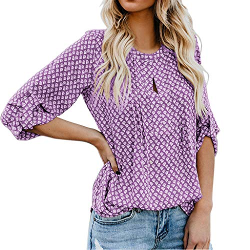 Zegeey Damen T-Shirt Top Sommer Langarmshirts V-Ausschnitt Einfarbig Drucken Knopf Lose Bluse Shirt Pullover Hemden Oberteile Tank CropTops Shirts Casual(Lila,L) Redhead Wrap