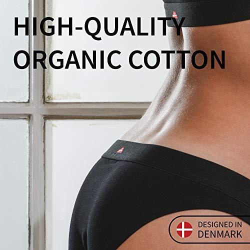 DANISH ENDURANCE Damen Bikini Slip aus Bio-Baumwolle, 6 Pack, Schwarz, Grau, Blau, Unterhose (Schwarz, Medium) - 2