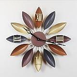 Nórdico Inglaterra Retro Vientos industriales Reloj de pared grande Retro Metal Reloj de pared Sala de estar Silenciar Dormitorio Silenciar Mesa colgante Oro