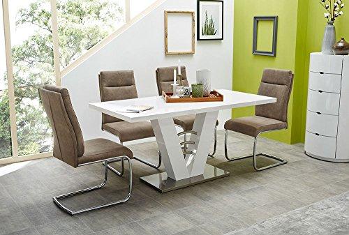 lifestyle4living Esstisch in Weiß Hochglanz   Esszimmertisch ist ausziehbar auf 120-160 cm breit
