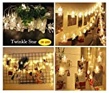 20 Foto Stringa LED Star Clips Light, per appendere quadri e Batterie, per San Valentino, Natale, compleanno, Party, Matrimonio (bianco caldo)