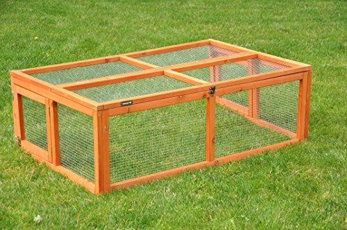 nanook Max - Freigehege zum Anbau für Kaninchenställe, klappbares und verriegelbares Dach, Farbe: natur - Größe S (123 x 80 cm)