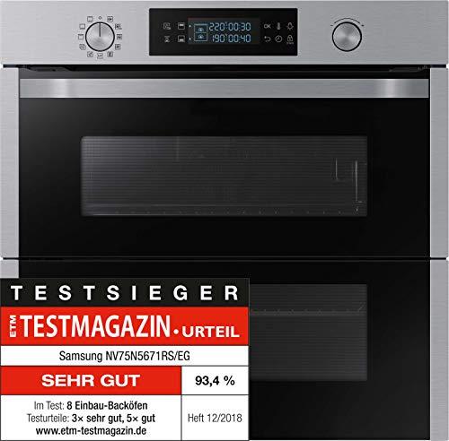 Samsung Dual Cook Flex NV75N5641RS/EG Backofen (Elektro/Einbau)/56,6 cm/Katalyse Plus Dampfreinigung/Automatikprogramme/XXL-Garraum/Silber