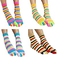 ACMEDE 4Pares Mujer Calcetines de Cinco Dedos Calcetines Zapatillas de algodón