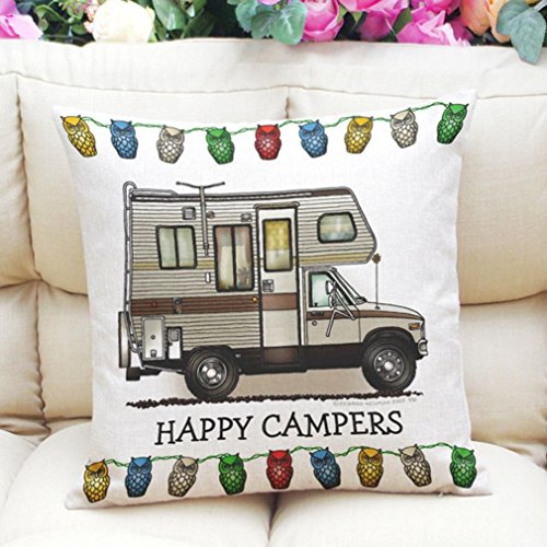 Happy Campers Pillow Case Owl Patten Sofa Waist Throw Cushion Cover Home Decor (D)