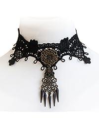 JewelryWe Joyas Collar Gargantilla Collarín Mujer Disfraza, Retro Gótico Negro, Encaje gótica, Adorno