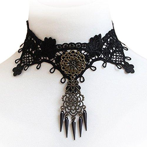 JewelryWe Schmuck Gotik Halskette Halsband Kette Damenkette Collier Blogger Choker Legierung Blumen...