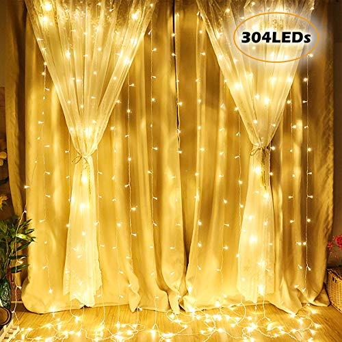 Josechan 300 LED 3m x 3m Luce Della Stringa Tenda Finestra, 16 Strisce con 8 Modalità per Interni/Esterni per Feste, Matrimoni, Patio di Casa, Decorazione del Giardino di Prato (Bianco Caldo)