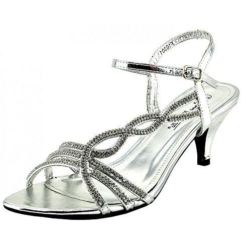 Kick Schuhe Damen Hochzeit Heels Diamante Sandale Schuhe SILBER - F10301