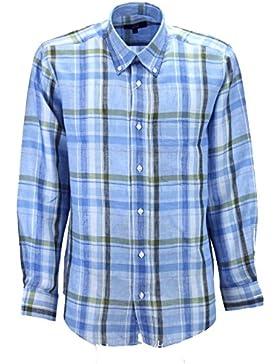 Un Clásico de camisa de Hombre en Azul Pinturas de lino-tipo - Slimfitt Botón de Abajo