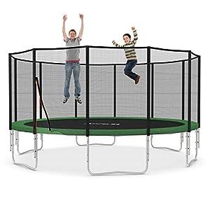Ampel 24 XXL Outdoor Trampolin Ø 490 cm grün | Gartentrampolin Komplettset mit verstärktem Netz | Sicherheitsnetz mit 12 gepolsterten Stangen | Belastbarkeit 180 kg