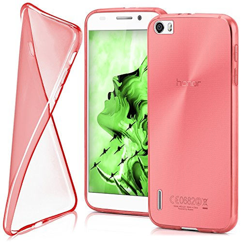 moex Huawei Honor 6 | Hülle Silikon Transparent Rot Clear Back-Cover TPU Schutzhülle Dünn Handyhülle für Honor 6 Case Ultra-Slim Silikonhülle Rückseite