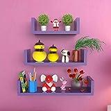 onlineshoppee MDF artesanía decoración de la pared-en forma de U estantería de pared (3unidades), color morado